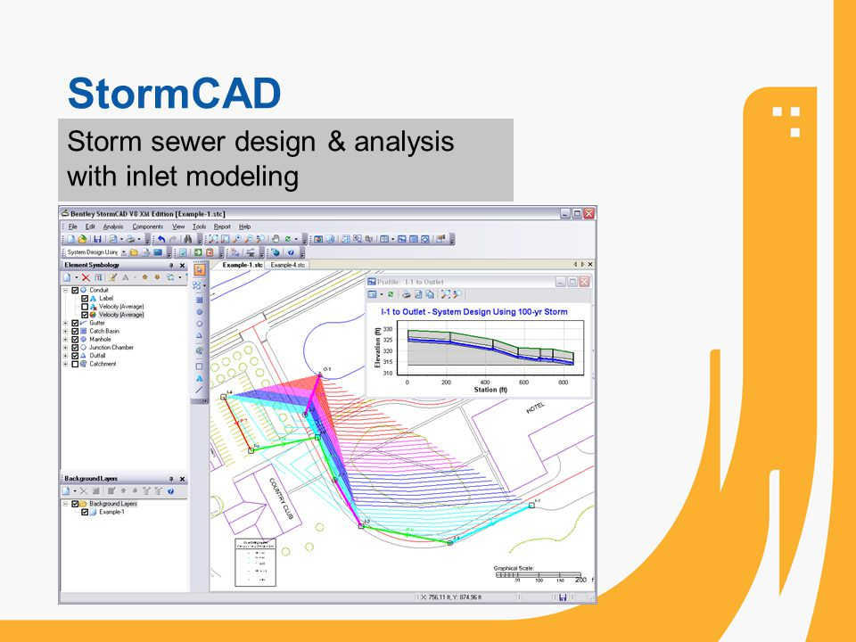 StormCAD Storm sewer design & analysis with inlet modeling