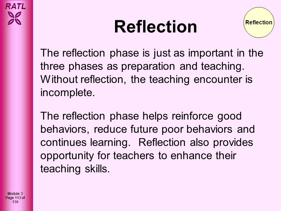 RATL Module 3 Page 114 of 130 Practice Question 1 What are the three phases of the Irby model of teaching.