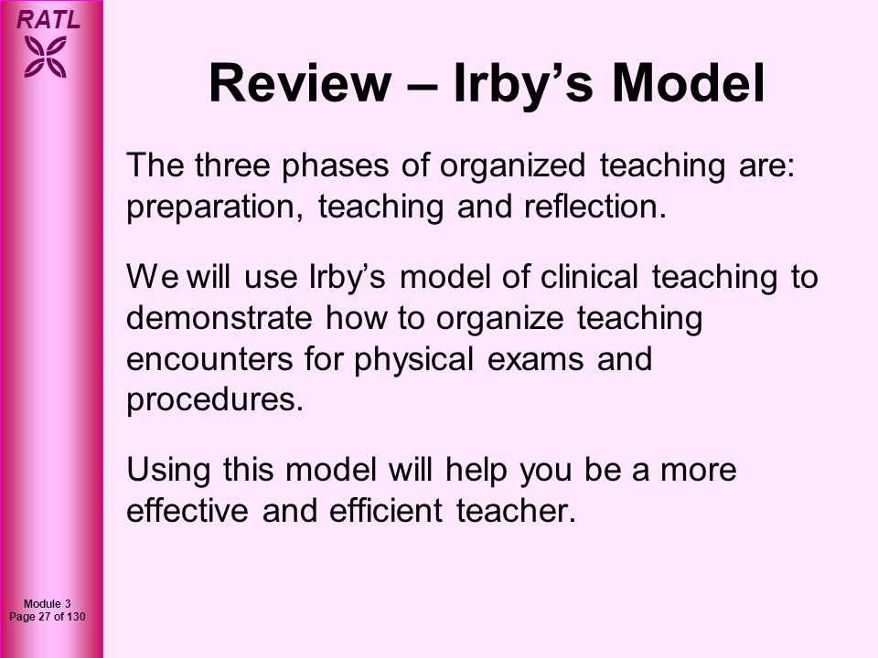 RATL Module 3 Page 28 of 130 Preparation ReflectionTeaching Before DuringAfter Review Three Stages of Clinical Teaching by Irby: Adapted from: David Irby, How attending physicians make instructional decisions when conducting teaching rounds.