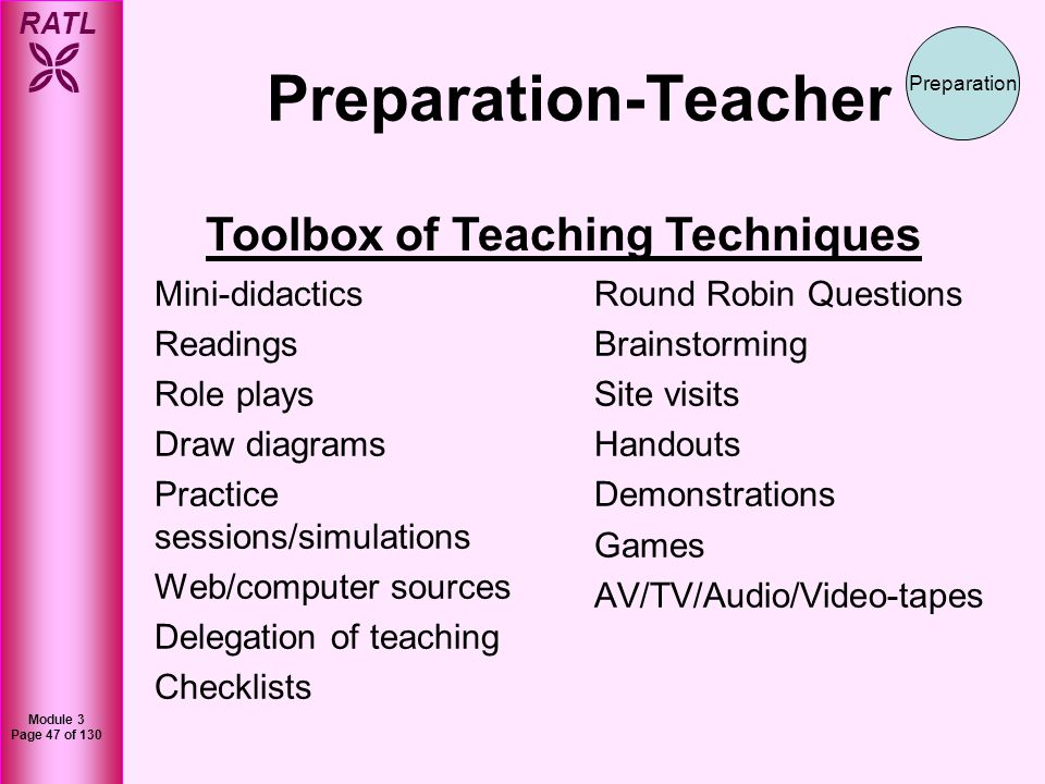 RATL Module 3 Page 48 of 130 Examples of Some Tools 1.Delegate teaching – the more someone teaches something the better they learn it.