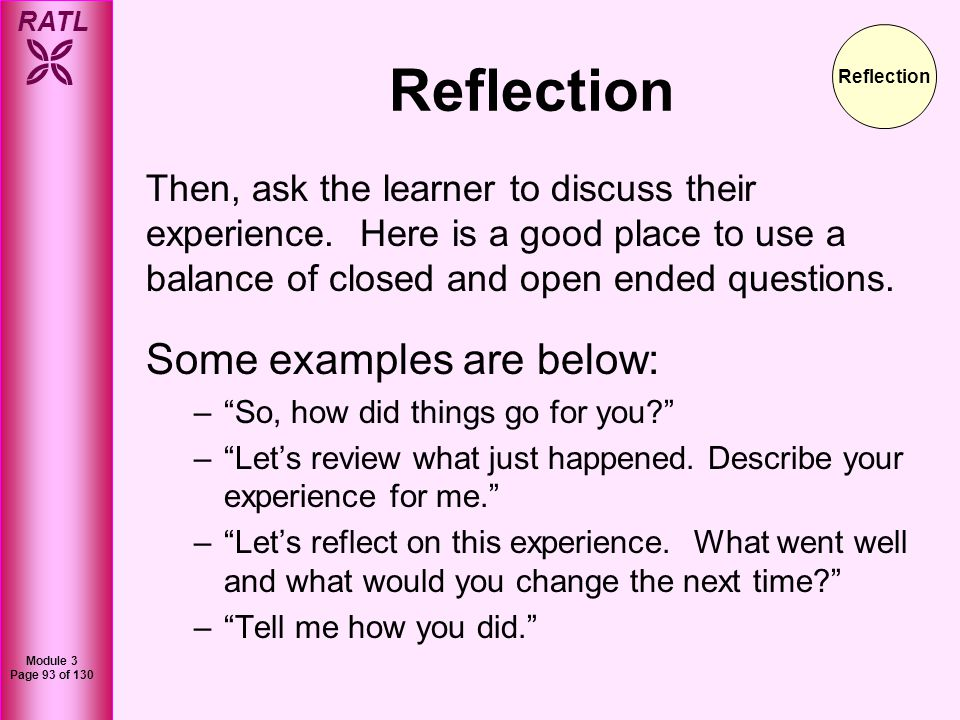 RATL Module 3 Page 94 of 130 Reflection Listen attentively and even jot down notes or key points if needed.