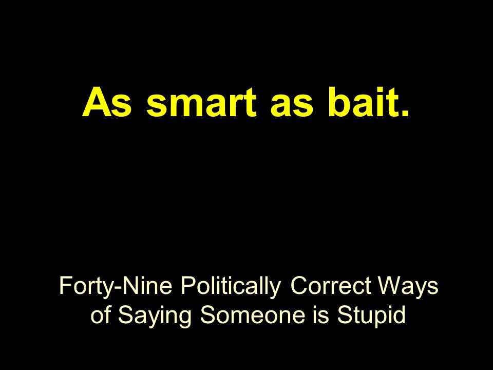 Forty-Nine Politically Correct Ways of Saying Someone is Stupid As smart as bait.