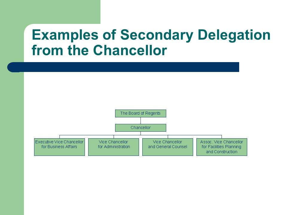 Examples of Secondary Delegation from the Chancellor