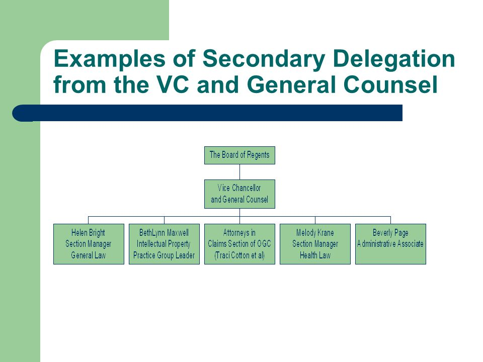 Examples of Secondary Delegation from the VC and General Counsel