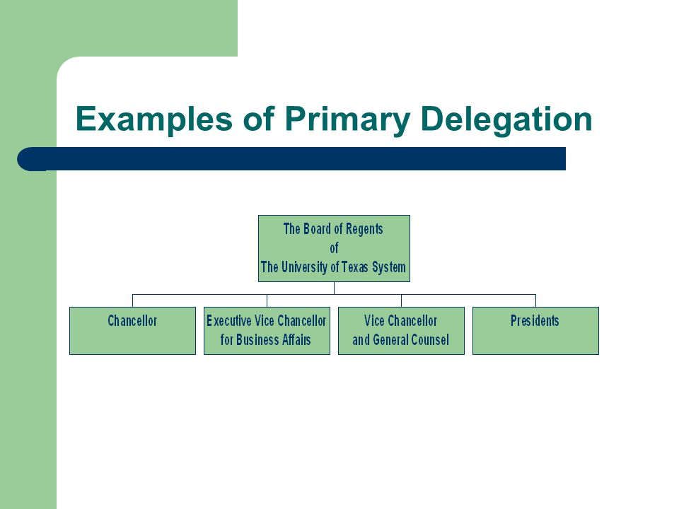 Examples of Primary Delegation
