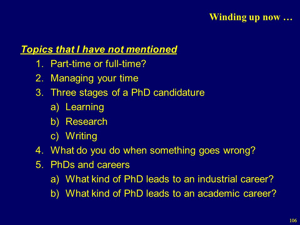 106 Winding up now … Topics that I have not mentioned 1.Part-time or full-time.