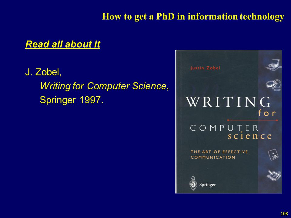 108 How to get a PhD in information technology Read all about it J.