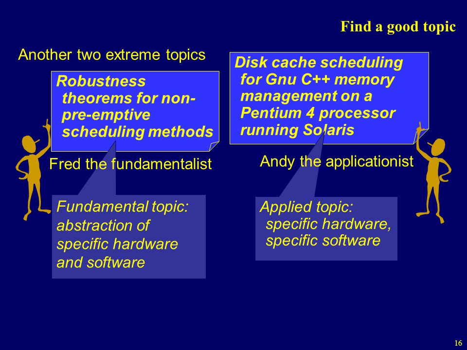 16 Find a good topic Robustness theorems for non- pre-emptive scheduling methods Disk cache scheduling for Gnu C++ memory management on a Pentium 4 processor running Solaris Another two extreme topics Fundamental topic: abstraction of specific hardware and software Applied topic: specific hardware, specific software Fred the fundamentalist Andy the applicationist