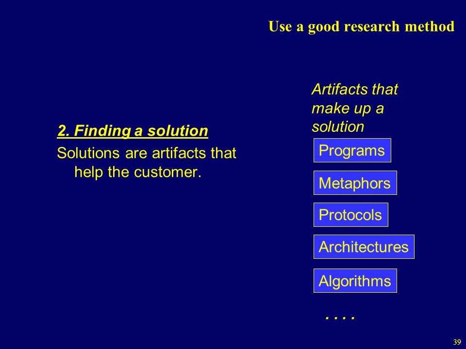 39 Use a good research method 2.Finding a solution Solutions are artifacts that help the customer.