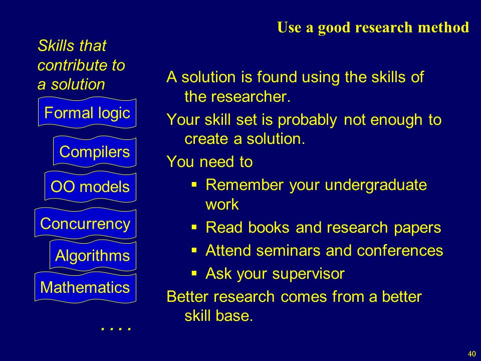 40 Use a good research method A solution is found using the skills of the researcher.