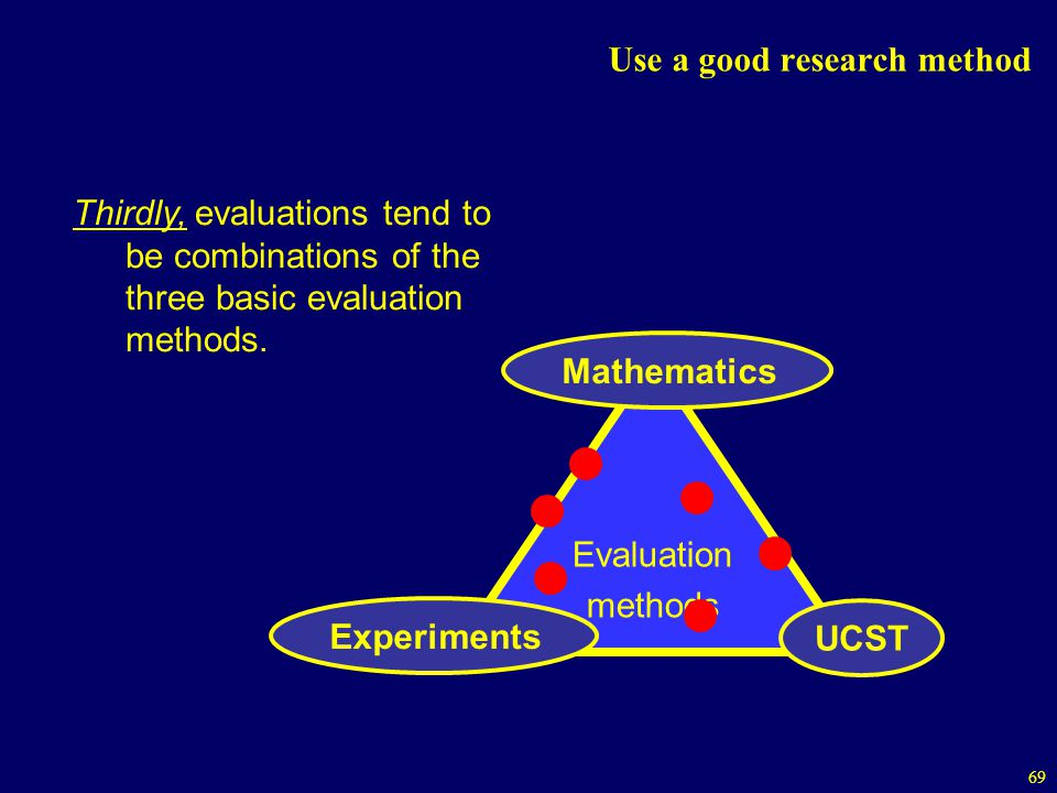 69 Use a good research method Evaluation methods Mathematics Experiments UCST Thirdly, evaluations tend to be combinations of the three basic evaluation methods.