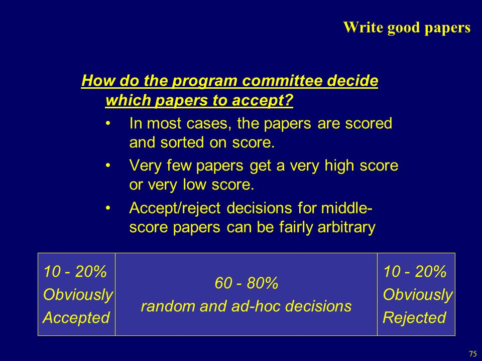 75 Write good papers How do the program committee decide which papers to accept.