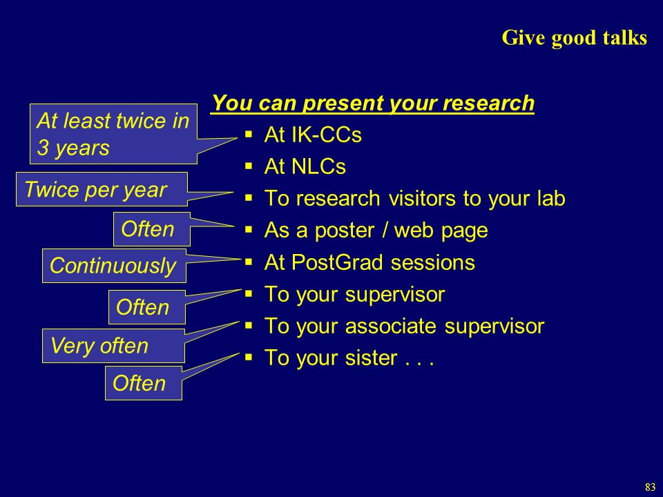 83 Give good talks You can present your research At IK-CCs At NLCs To research visitors to your lab As a poster / web page At PostGrad sessions To your supervisor To your associate supervisor To your sister...