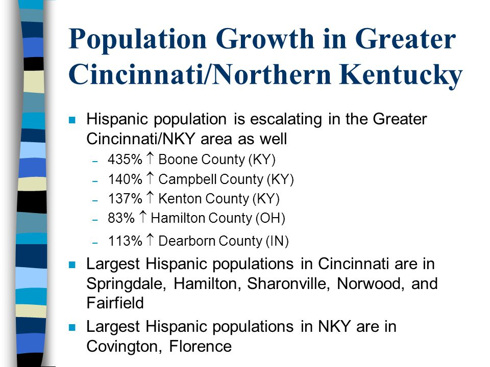 Population Growth in Greater Cincinnati/Northern Kentucky n Hispanic population is escalating in the Greater Cincinnati/NKY area as well – 435% Boone County (KY) – 140% Campbell County (KY) – 137% Kenton County (KY) – 83% Hamilton County (OH) – 113% Dearborn County (IN) n Largest Hispanic populations in Cincinnati are in Springdale, Hamilton, Sharonville, Norwood, and Fairfield n Largest Hispanic populations in NKY are in Covington, Florence