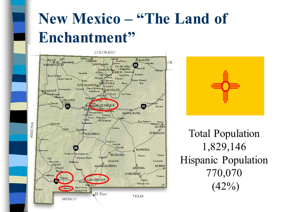 New Mexico – The Land of Enchantment Total Population 1,829,146 Hispanic Population 770,070 (42%)