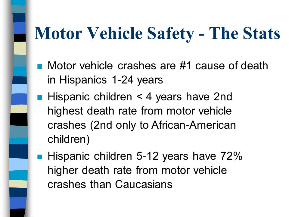Motor Vehicle Safety - The Stats n Motor vehicle crashes are #1 cause of death in Hispanics 1-24 years n Hispanic children < 4 years have 2nd highest death rate from motor vehicle crashes (2nd only to African-American children) n Hispanic children 5-12 years have 72% higher death rate from motor vehicle crashes than Caucasians