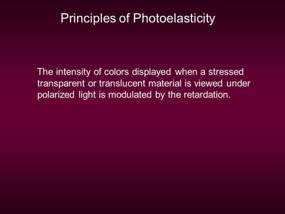 Principles of Photoelasticity The intensity of colors displayed when a stressed transparent or translucent material is viewed under polarized light is