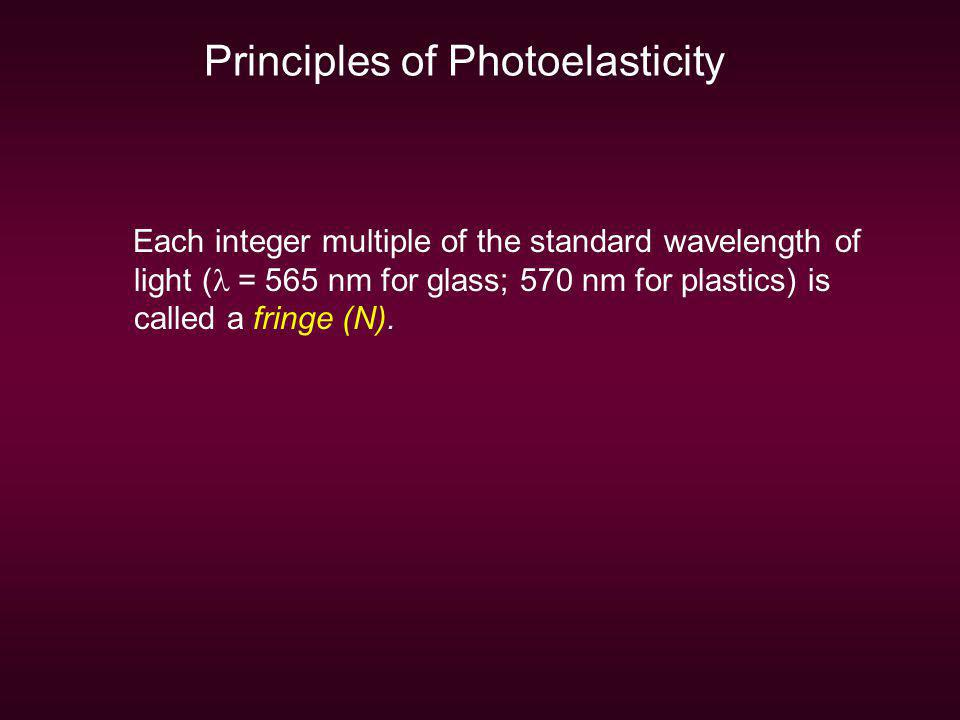 Principles of Photoelasticity Each integer multiple of the standard wavelength of light ( = 565 nm for glass; 570 nm for plastics) is called a fringe