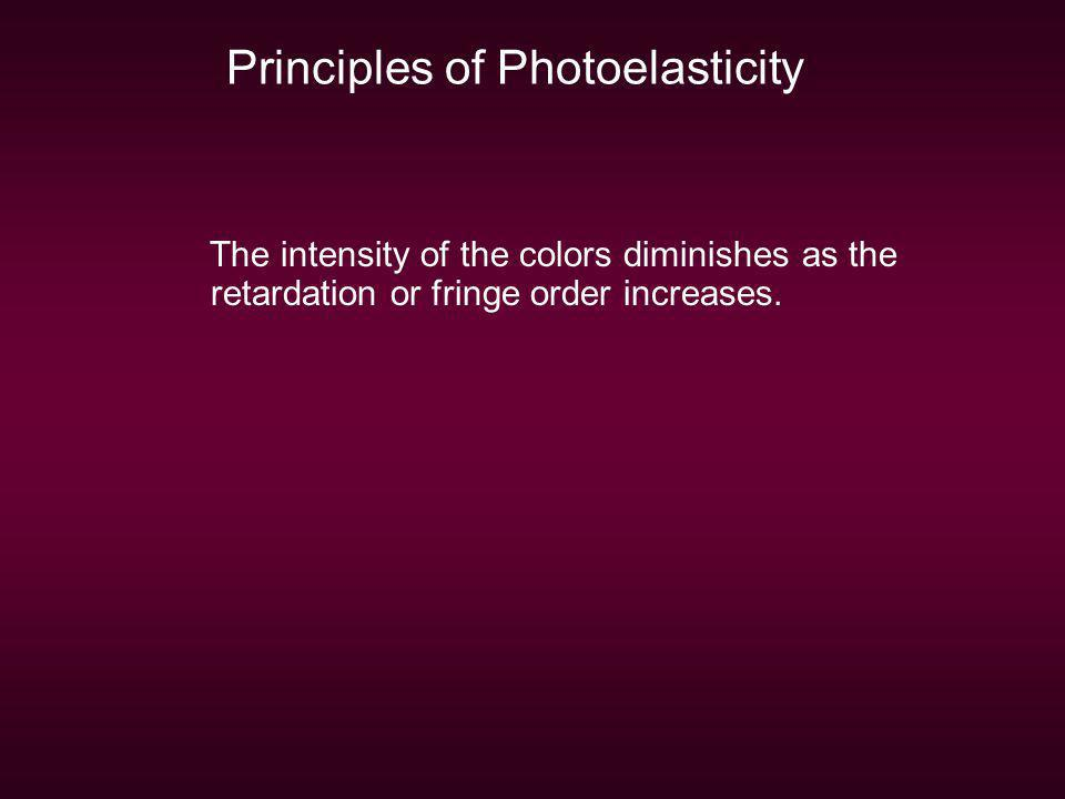 Principles of Photoelasticity The intensity of the colors diminishes as the retardation or fringe order increases.