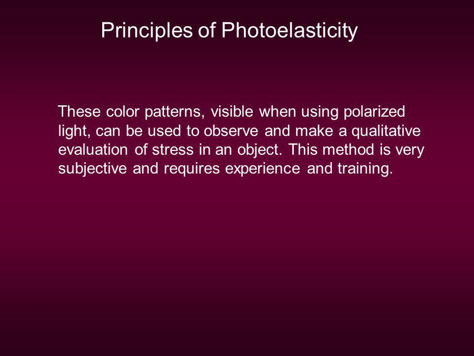 Principles of Photoelasticity These color patterns, visible when using polarized light, can be used to observe and make a qualitative evaluation of st