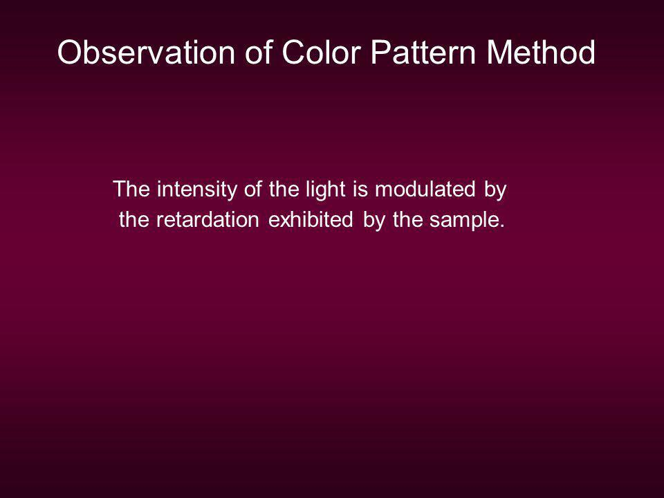 Observation of Color Pattern Method The intensity of the light is modulated by the retardation exhibited by the sample.