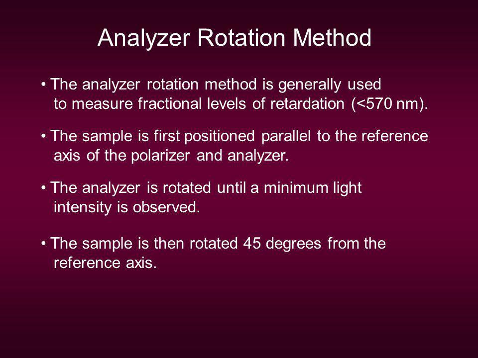 Analyzer Rotation Method The analyzer rotation method is generally used to measure fractional levels of retardation (<570 nm). The analyzer is rotated