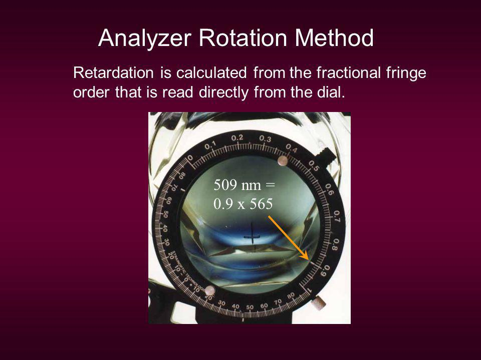 Analyzer Rotation Method Retardation is calculated from the fractional fringe order that is read directly from the dial. 509 nm = 0.9 x 565