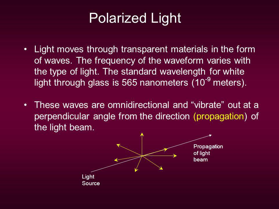 Polarized Light Light moves through transparent materials in the form of waves. The frequency of the waveform varies with the type of light. The stand