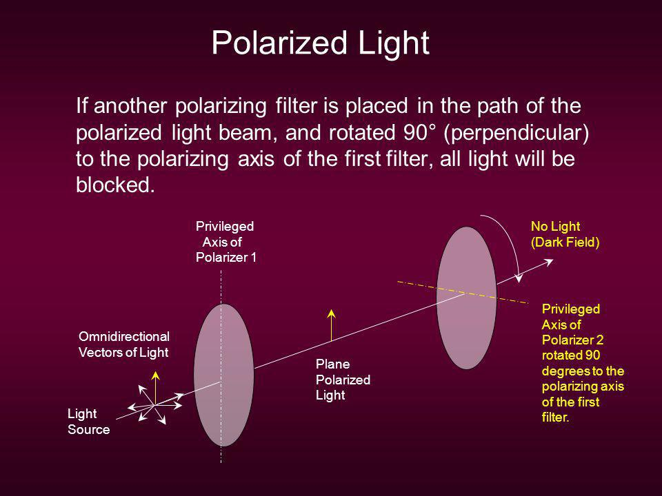 Polarized Light If another polarizing filter is placed in the path of the polarized light beam, and rotated 90° (perpendicular) to the polarizing axis