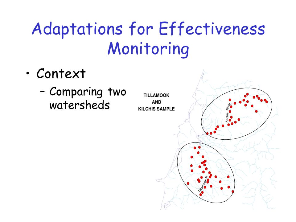 Adaptations for Effectiveness Monitoring Context –Comparing two watersheds