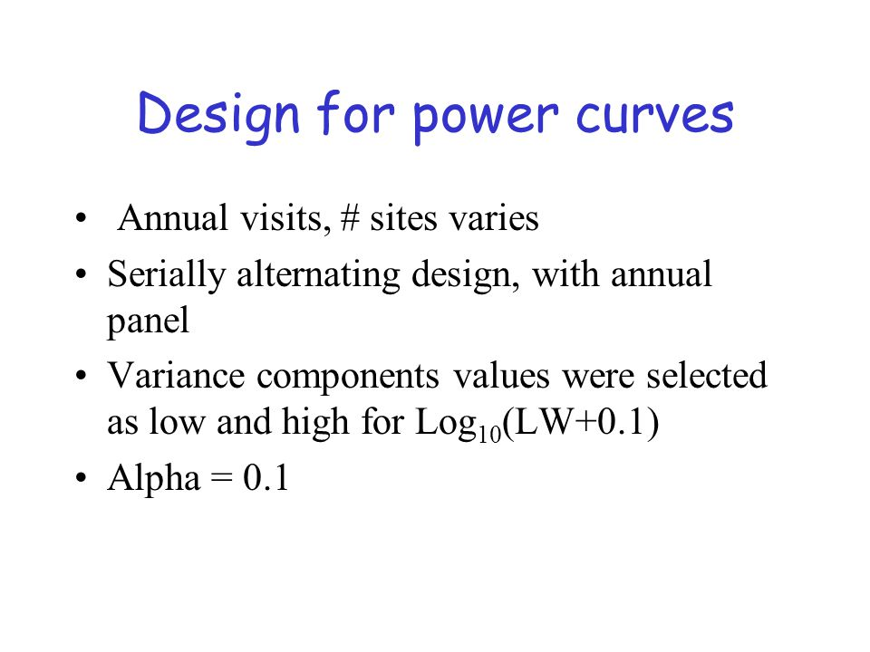 Design for power curves Annual visits, # sites varies Serially alternating design, with annual panel Variance components values were selected as low and high for Log 10 (LW+0.1) Alpha = 0.1