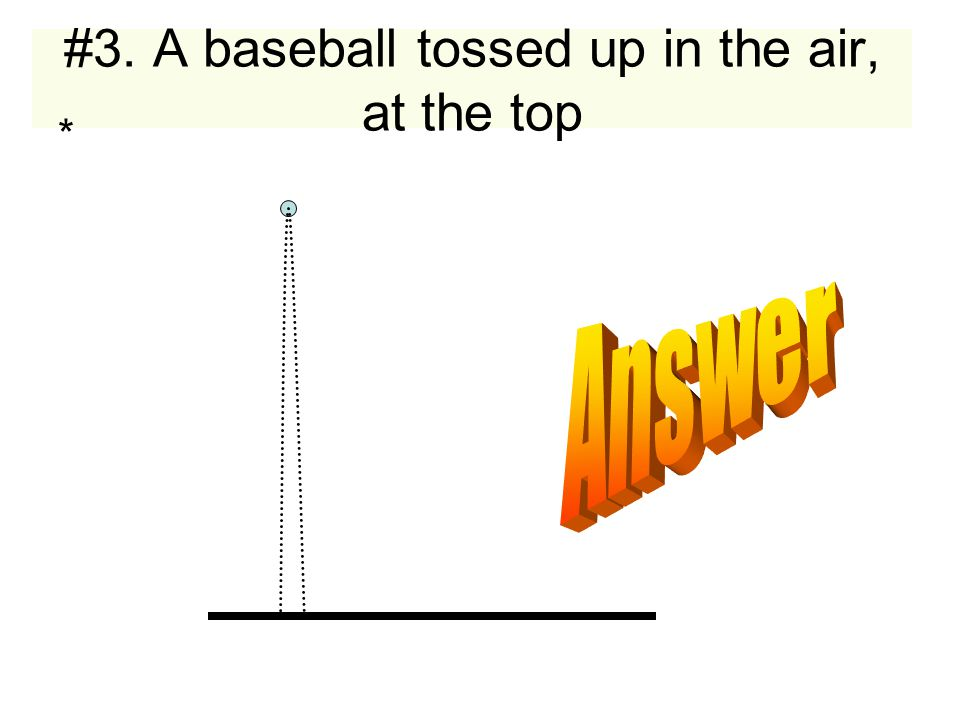 #3. A baseball tossed up in the air, at the top *