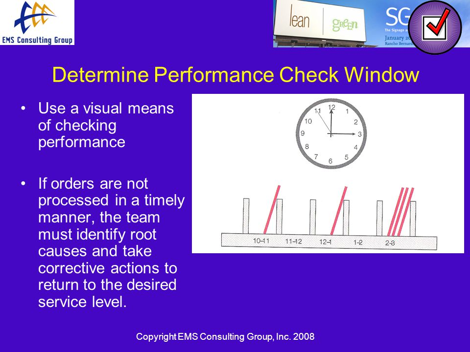 Copyright EMS Consulting Group, Inc. 2008 Determine Performance Check Window Use a visual means of checking performance If orders are not processed in