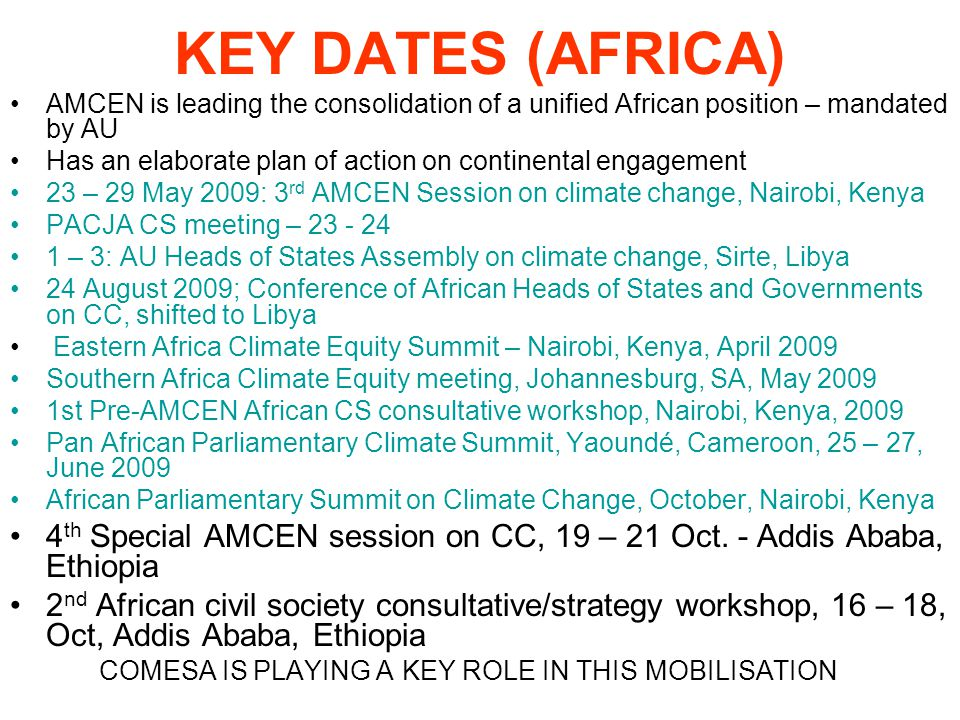KEY DATES (AFRICA) AMCEN is leading the consolidation of a unified African position – mandated by AU Has an elaborate plan of action on continental engagement 23 – 29 May 2009: 3 rd AMCEN Session on climate change, Nairobi, Kenya PACJA CS meeting – 23 - 24 1 – 3: AU Heads of States Assembly on climate change, Sirte, Libya 24 August 2009; Conference of African Heads of States and Governments on CC, shifted to Libya Eastern Africa Climate Equity Summit – Nairobi, Kenya, April 2009 Southern Africa Climate Equity meeting, Johannesburg, SA, May 2009 1st Pre-AMCEN African CS consultative workshop, Nairobi, Kenya, 2009 Pan African Parliamentary Climate Summit, Yaoundé, Cameroon, 25 – 27, June 2009 African Parliamentary Summit on Climate Change, October, Nairobi, Kenya 4 th Special AMCEN session on CC, 19 – 21 Oct.
