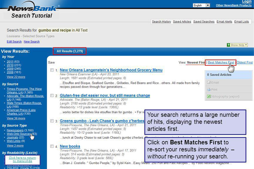 Your search returns a large number of hits, displaying the newest articles first.