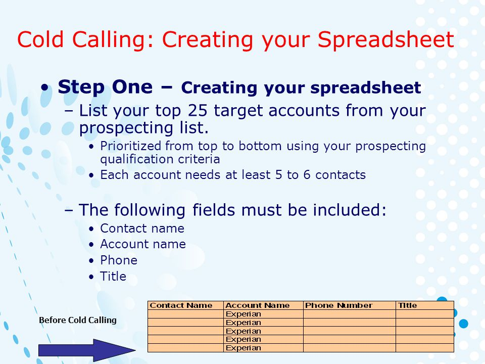 Cold Calling: Creating your Spreadsheet Step One – Creating your spreadsheet –List your top 25 target accounts from your prospecting list. Prioritized