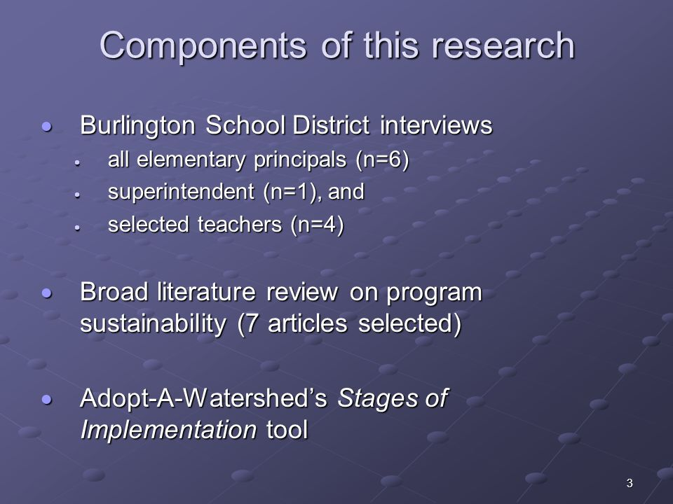 3 Components of this research Burlington School District interviews Burlington School District interviews all elementary principals (n=6) all elementa