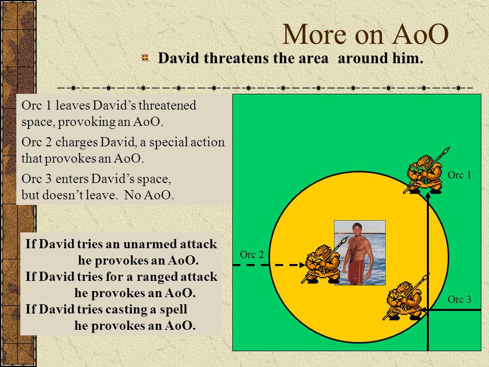 More on AoO David threatens the area around him.
