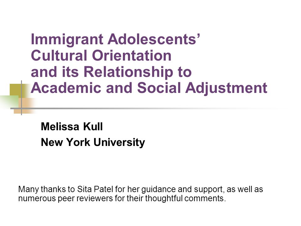 Conclusions and Implications Findings from this study lend support for the orthogonal model; however further research is needed to understand fully the role cultural orientation plays in immigrant adolescents lives.