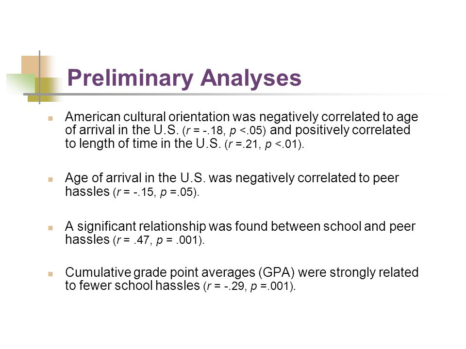 Preliminary Analyses American cultural orientation was negatively correlated to age of arrival in the U.S. (r = -.18, p <.05) and positively correlate