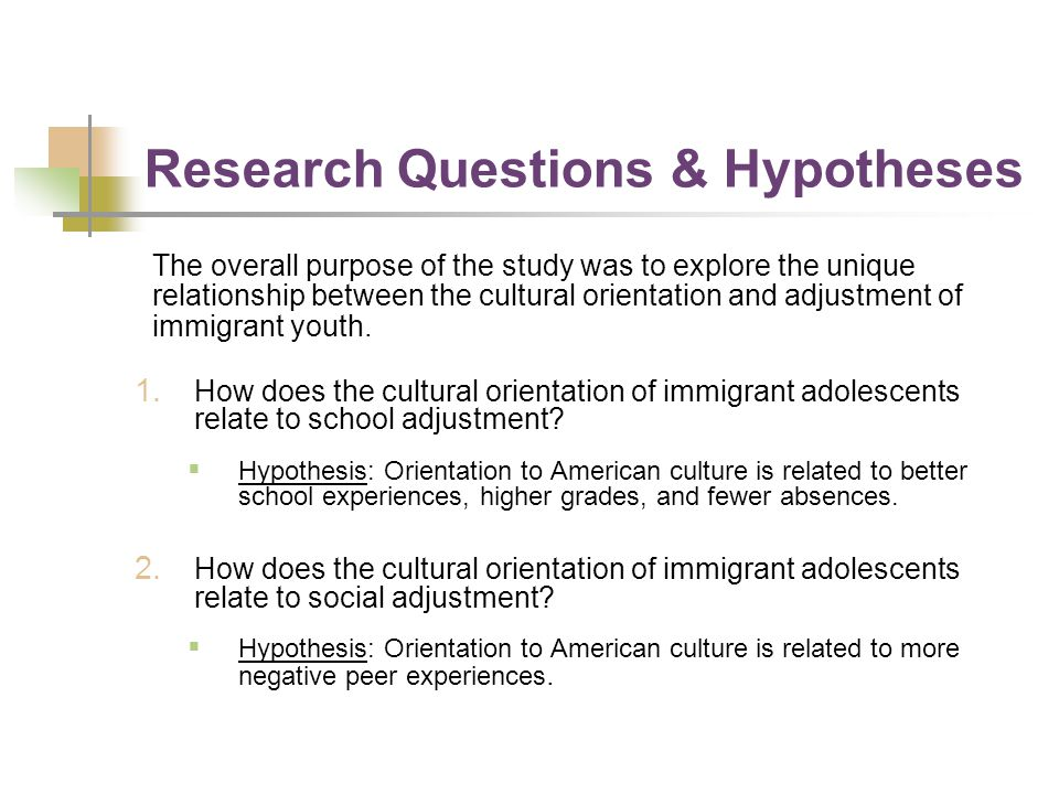 Research Questions & Hypotheses The overall purpose of the study was to explore the unique relationship between the cultural orientation and adjustmen