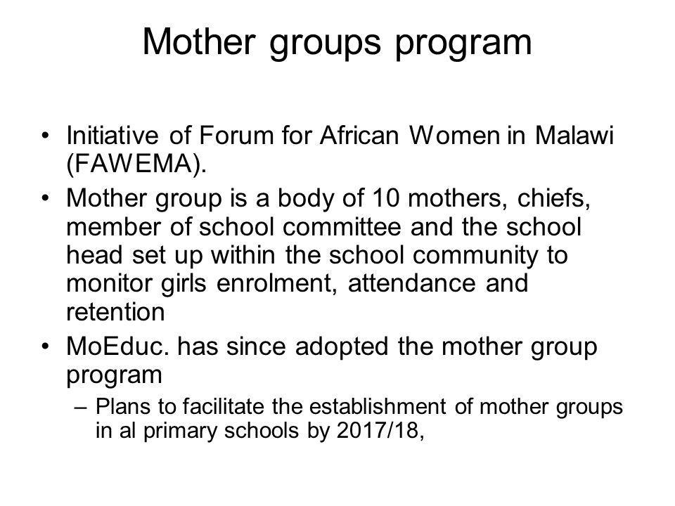 Mother groups program Initiative of Forum for African Women in Malawi (FAWEMA).