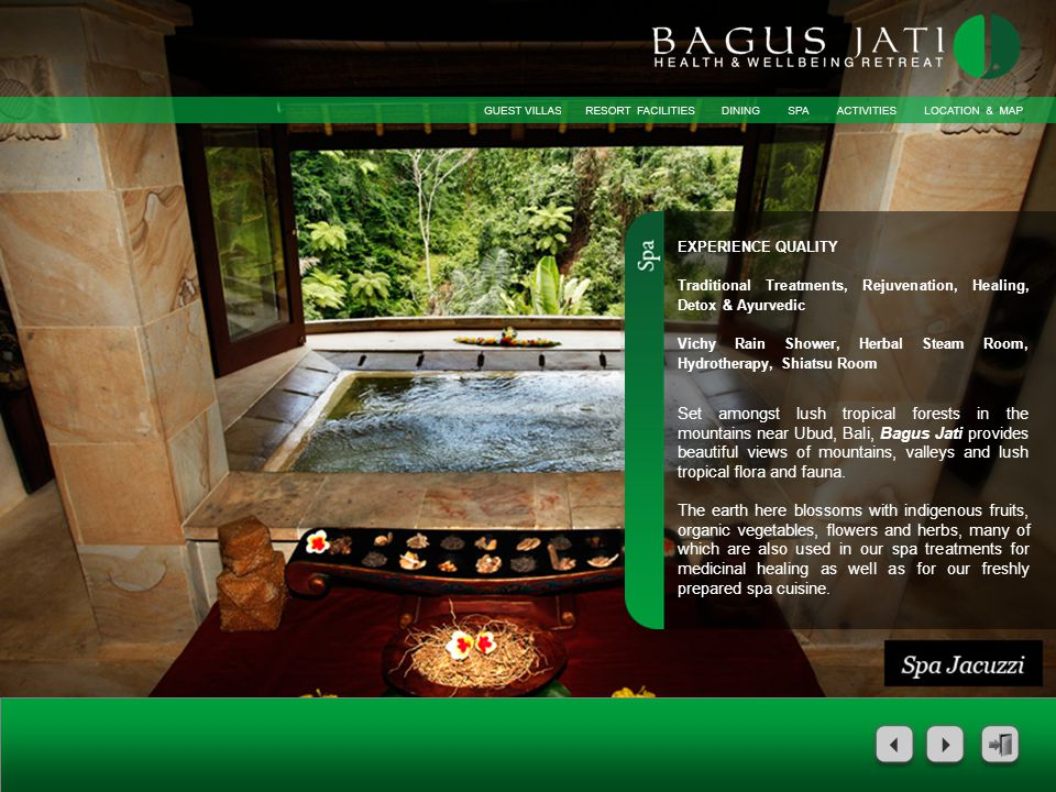 The concept of Bagus Jatis daily activities offers an insight into the culture and in keeping with our commitment to your total wellbeing, offers yoga, nature walk and Aqua Aerobics – all free of charge.