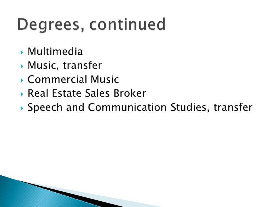 Multimedia Music, transfer Commercial Music Real Estate Sales Broker Speech and Communication Studies, transfer