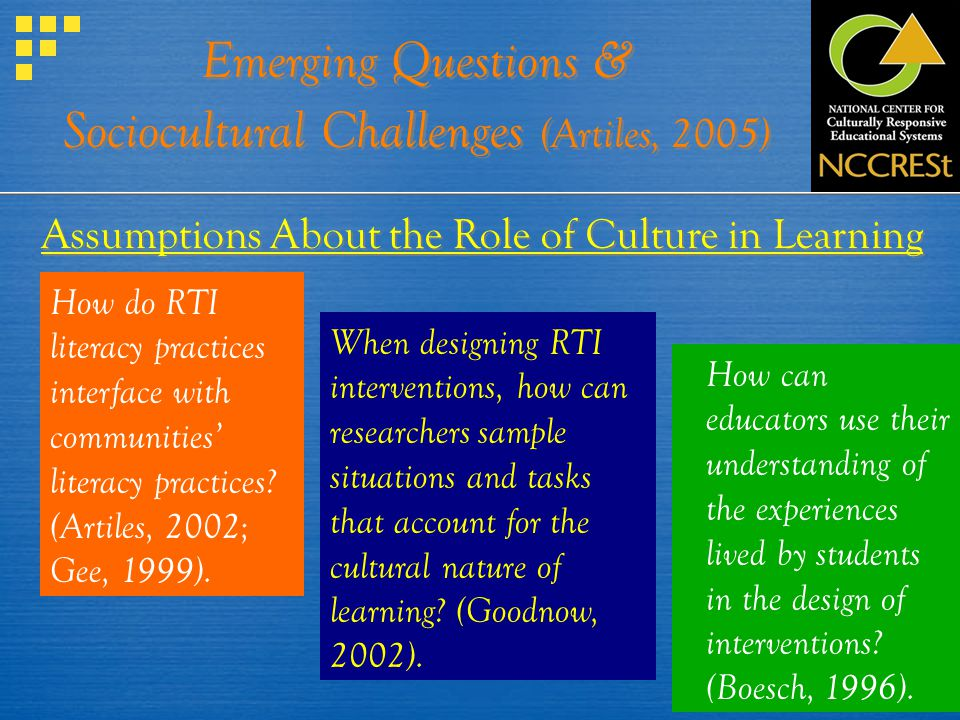 Emerging Questions & Sociocultural Challenges (Artiles, 2005) Assumptions About the Role of Culture in Learning How do RTI literacy practices interfac