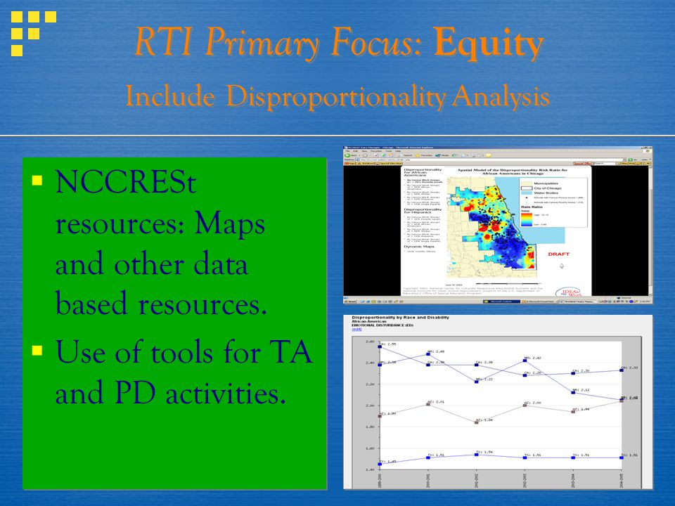 RTI Primary Focus: Equity Include Disproportionality Analysis NCCRESt resources: Maps and other data based resources. Use of tools for TA and PD activ