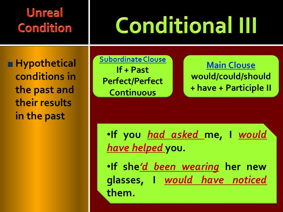 Hypothetical conditions in the past and their results in the past Main Clouse would/could/should + have + Participle II Main Clouse would/could/should