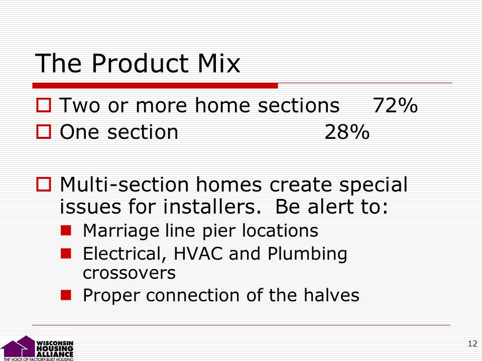 12 The Product Mix Two or more home sections 72% One section28% Multi-section homes create special issues for installers.