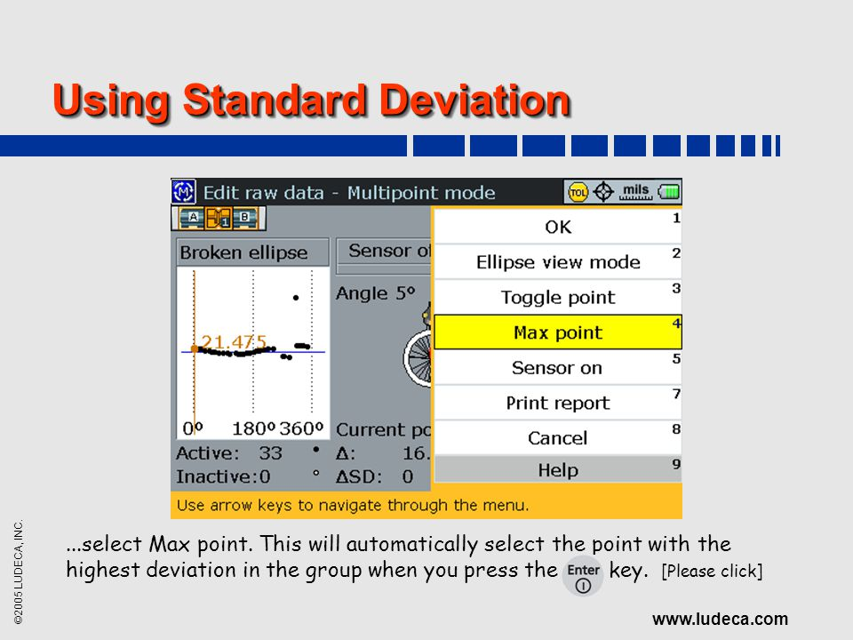 ©2005 LUDECA, INC. www.ludeca.com Using Standard Deviation...select Max point. This will automatically select the point with the highest deviation in