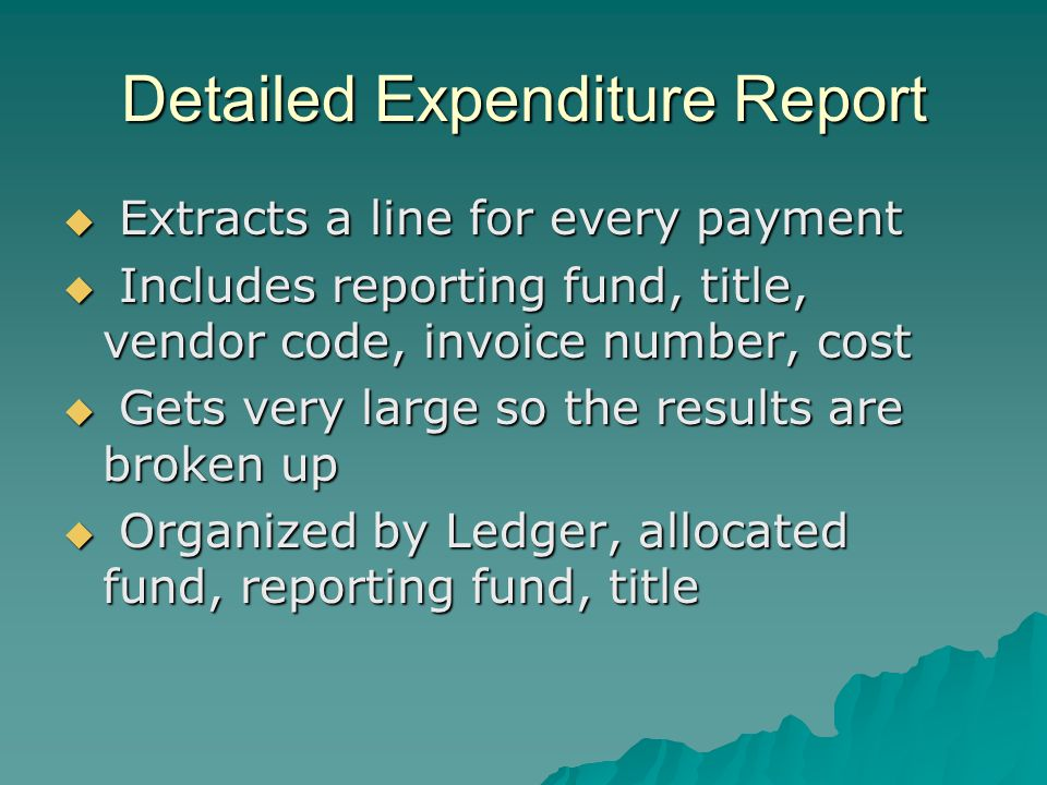 Detailed expenditure queries Query 1 extracts all invoice line information Query 1 extracts all invoice line information Query 2 extracts all expenditures from adjustments Query 2 extracts all expenditures from adjustments Query 3 is an append query and adds the lines from query 2 to the answer table from query 1 Query 3 is an append query and adds the lines from query 2 to the answer table from query 1